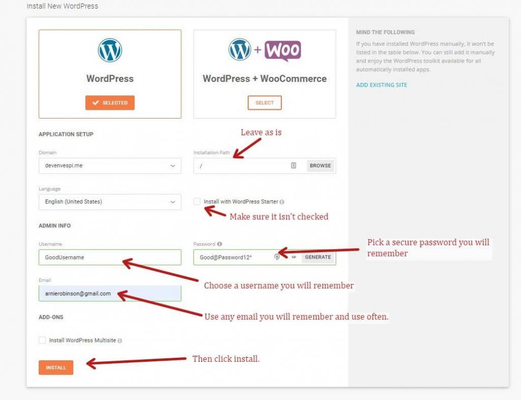 Configuring WordPRess in Siteground