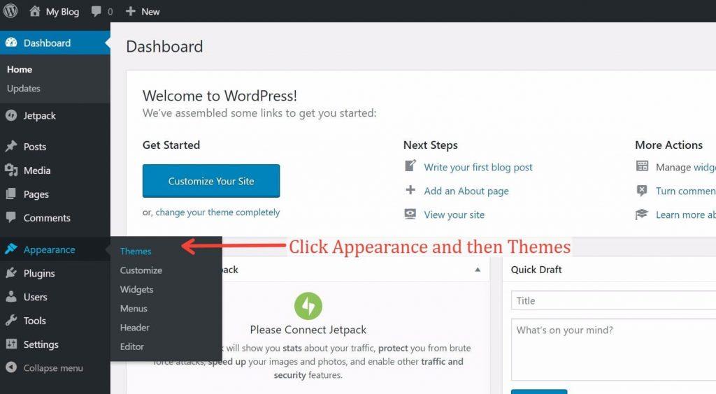 Installing a Theme in WordPress Dashboard