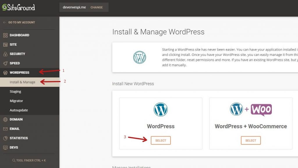One click WordPress Install On Siteground