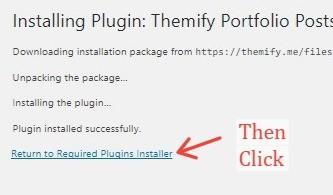 Return To Required Plugin installer