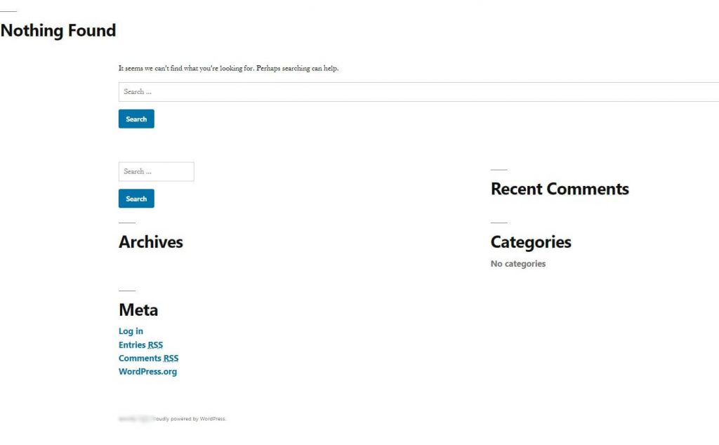 WordPress Nothing Found Error