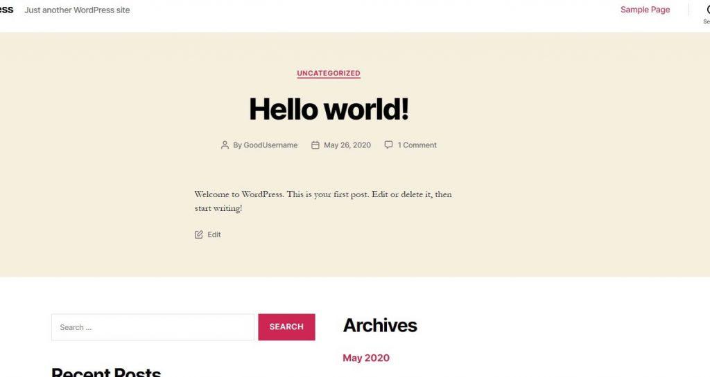 WordPress default screen