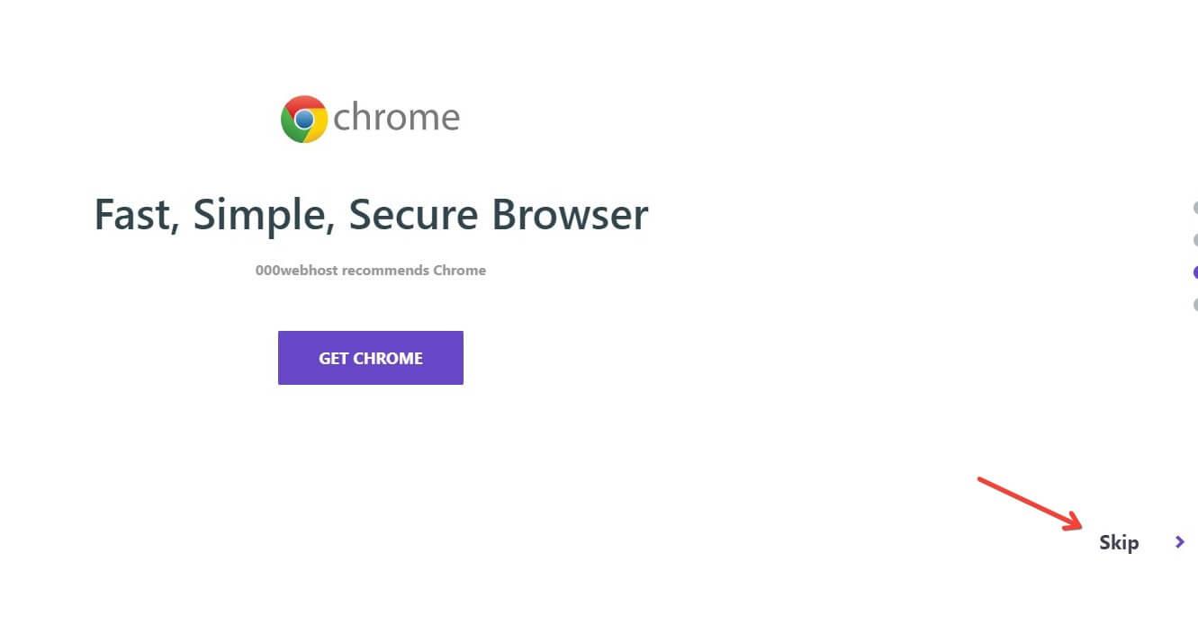 000WebHost Google Chrome Recomendation Screen