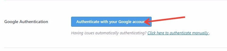 Authenticating Your Google Account For Monster Insights