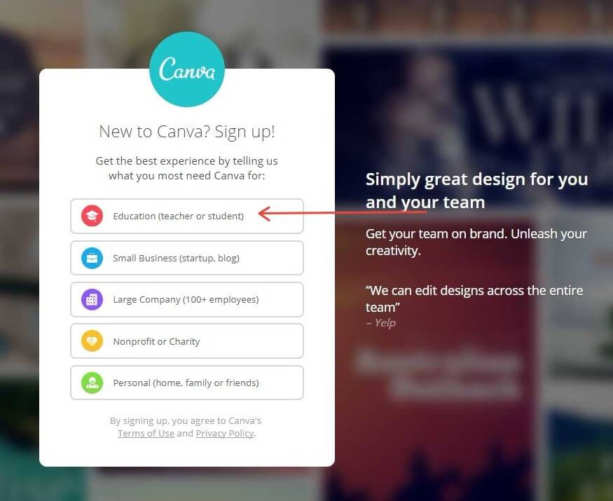 Canva Signup Screen