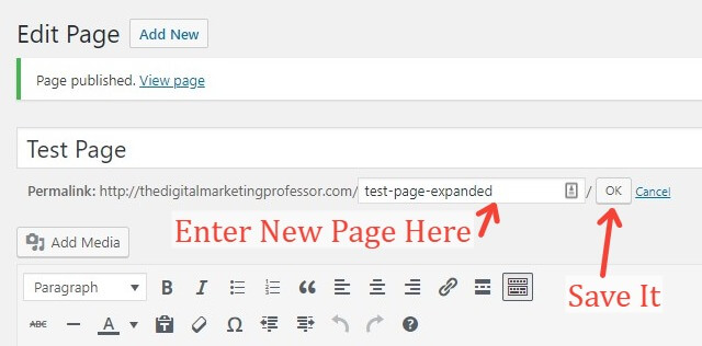 Changing A URL In WordPress