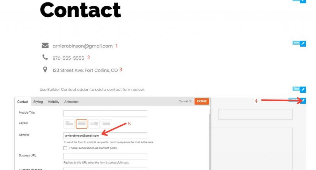 How To Edit The Contact Form In The Themify Builder To Send An Email