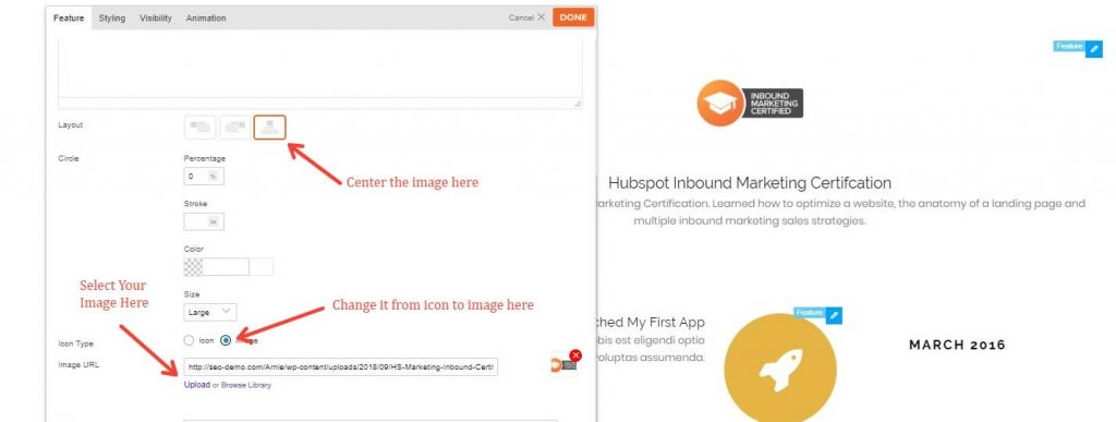 How To Select An Image As An Icon In The Themify Builder