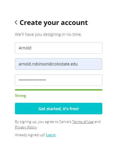 New Canva Signup form Enter Name