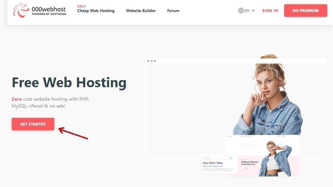 Setting Up A 000WebHost Account Click Get Started