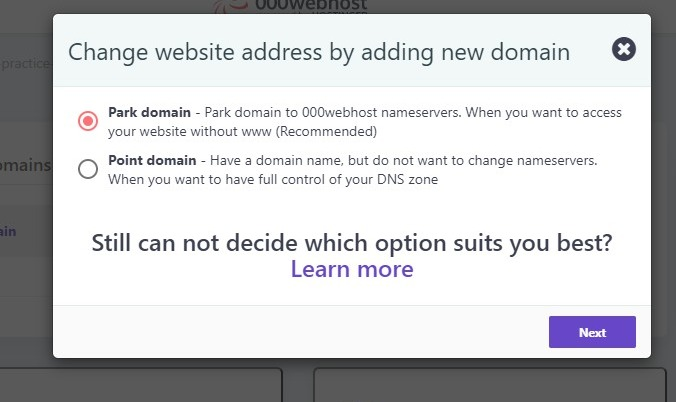 Then Select A Parked Domain From 000WebHost