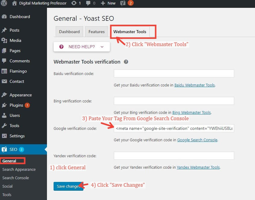 Verifying Google Search Console With Meta Tag In Yoast