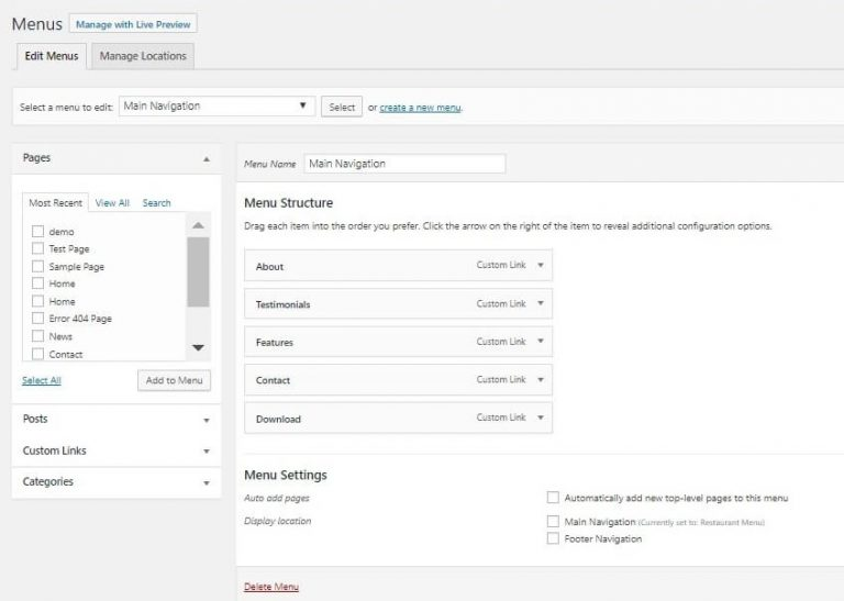 Working With WordPress Menu Options