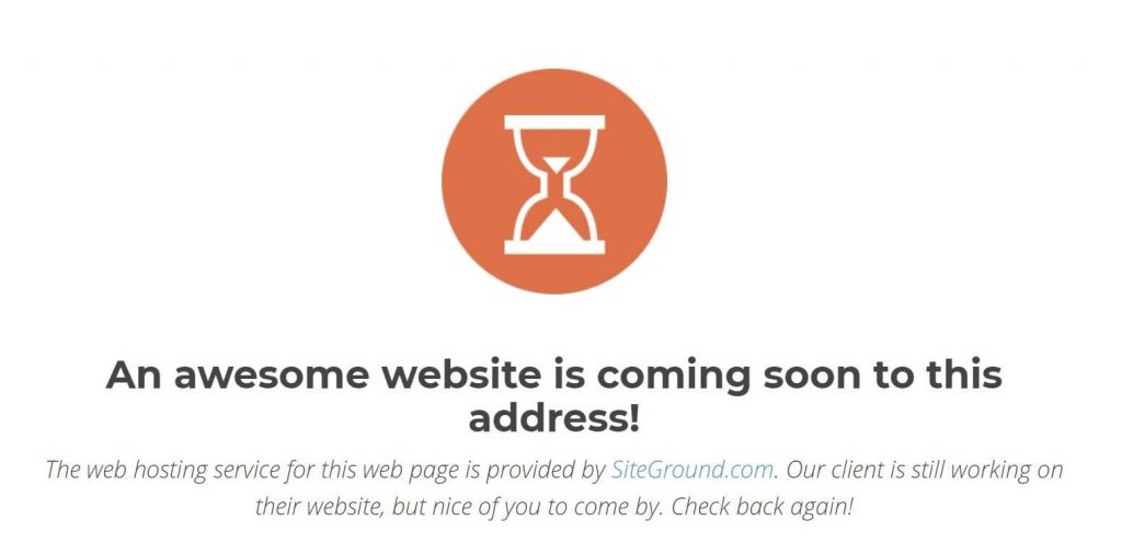 An Awesome Website is coming soon message in Siteground