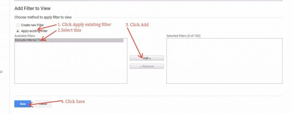 Applying A Filter To A New View In Google Analytics
