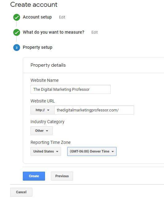 Choosing Analytics Account Info