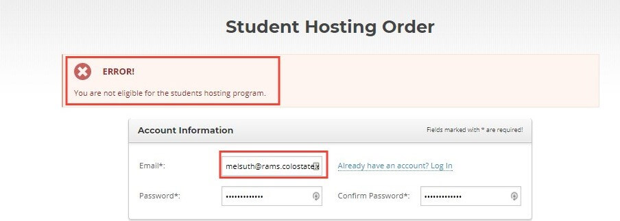 Free Themify Hosting Email Error