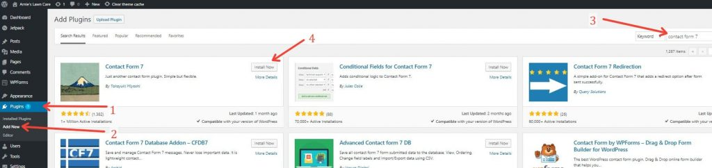How To Add Contact Form 7 through the plugin page in wordpress dashboard