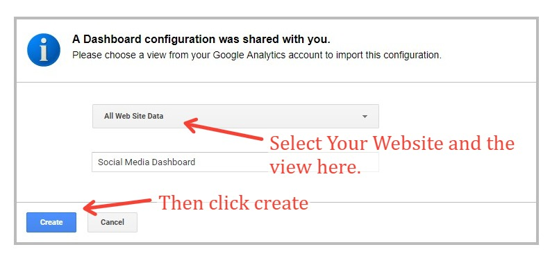 Importing A Dashboard From Google Analytics Solutions By Selecting Account And View