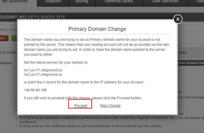 Primary Domain Change Themify