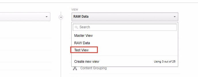 Selecting Different Views In Google Analytics
