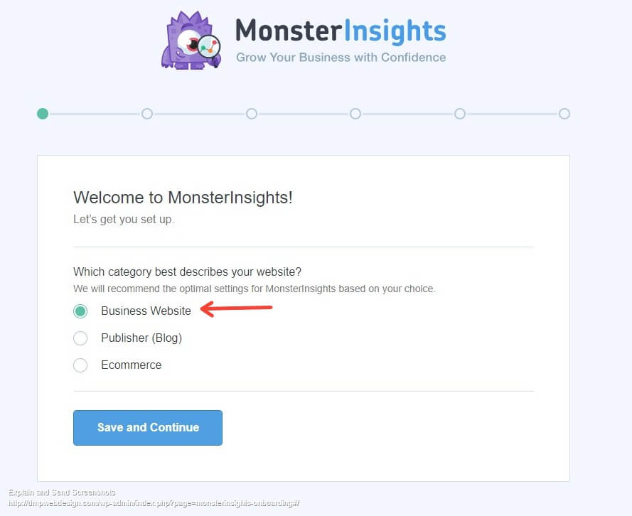 Setting Up Monster Insights - Select Business Website