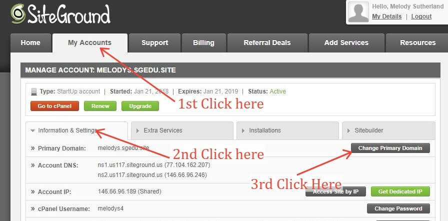 Siteground Manage Account Back End