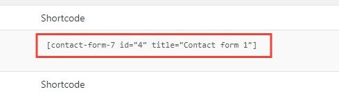 copying a contact form short code in wordpress