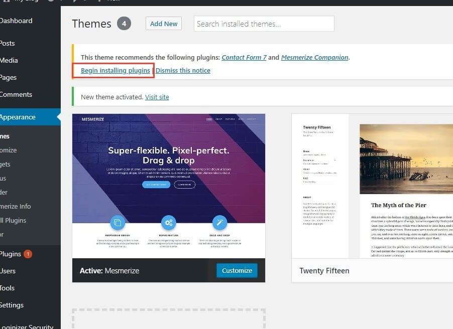 installing recommended plugins in wordpress