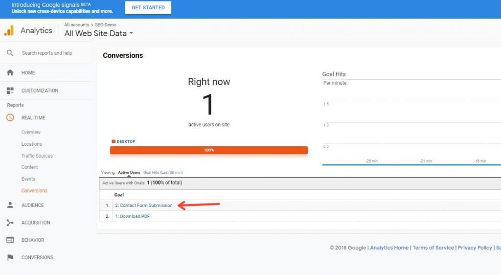 Checking A Contact Form 7 Conversion Goal In Google Analytics