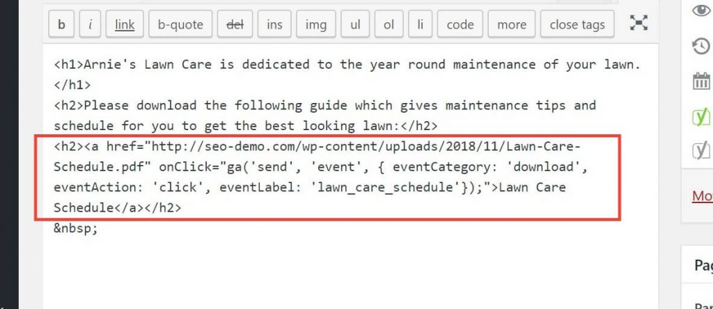 Tagging A Link In The WordPress Text Editor To Track An Event