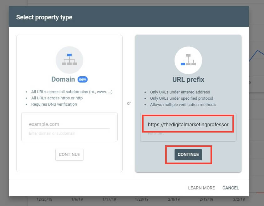 Verifying property in Google Search Console