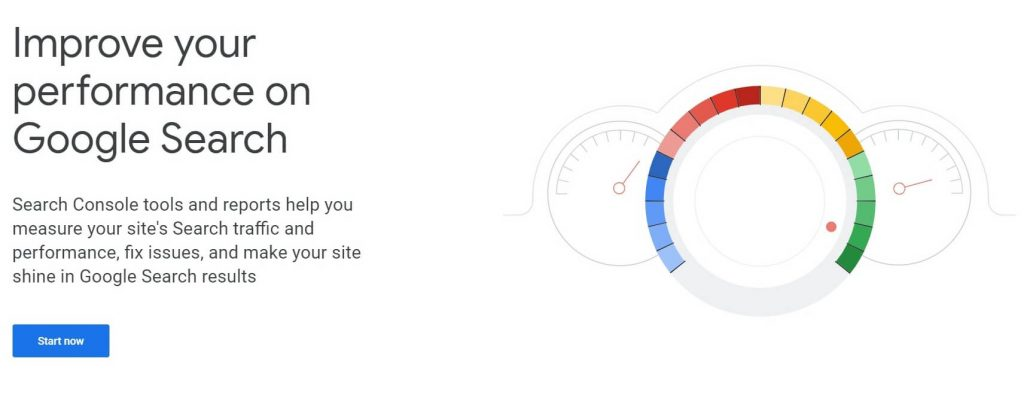 google search console home screen