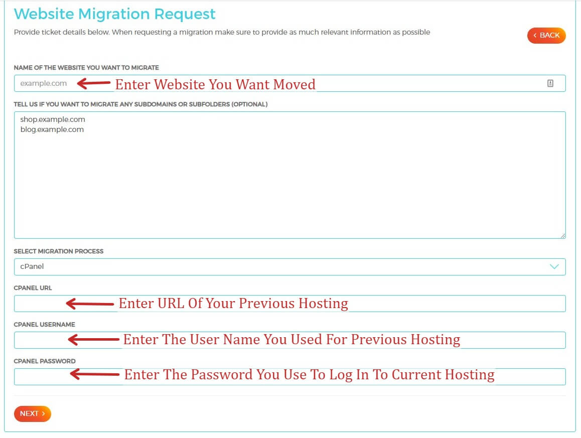 Website Migration Request With WPX Hosting - Entering Hosting Log in Information