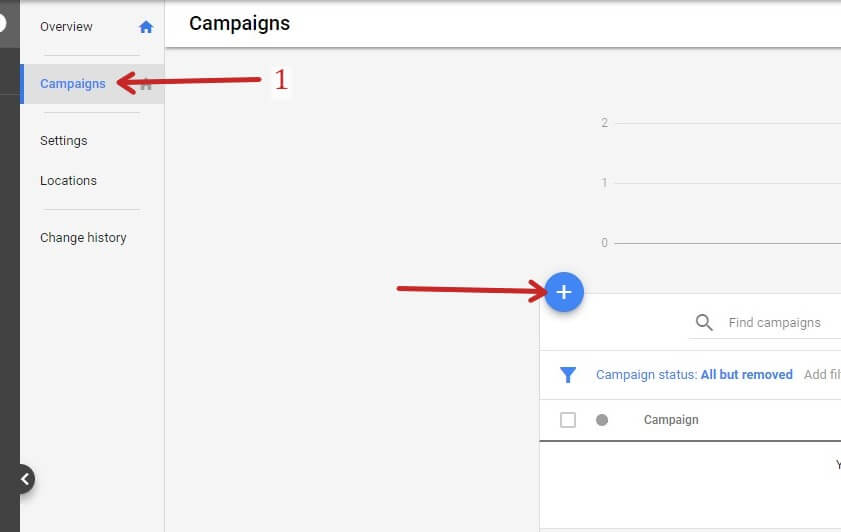 Creating A Google Ads Campaign - Click Campaigns Then the Plus