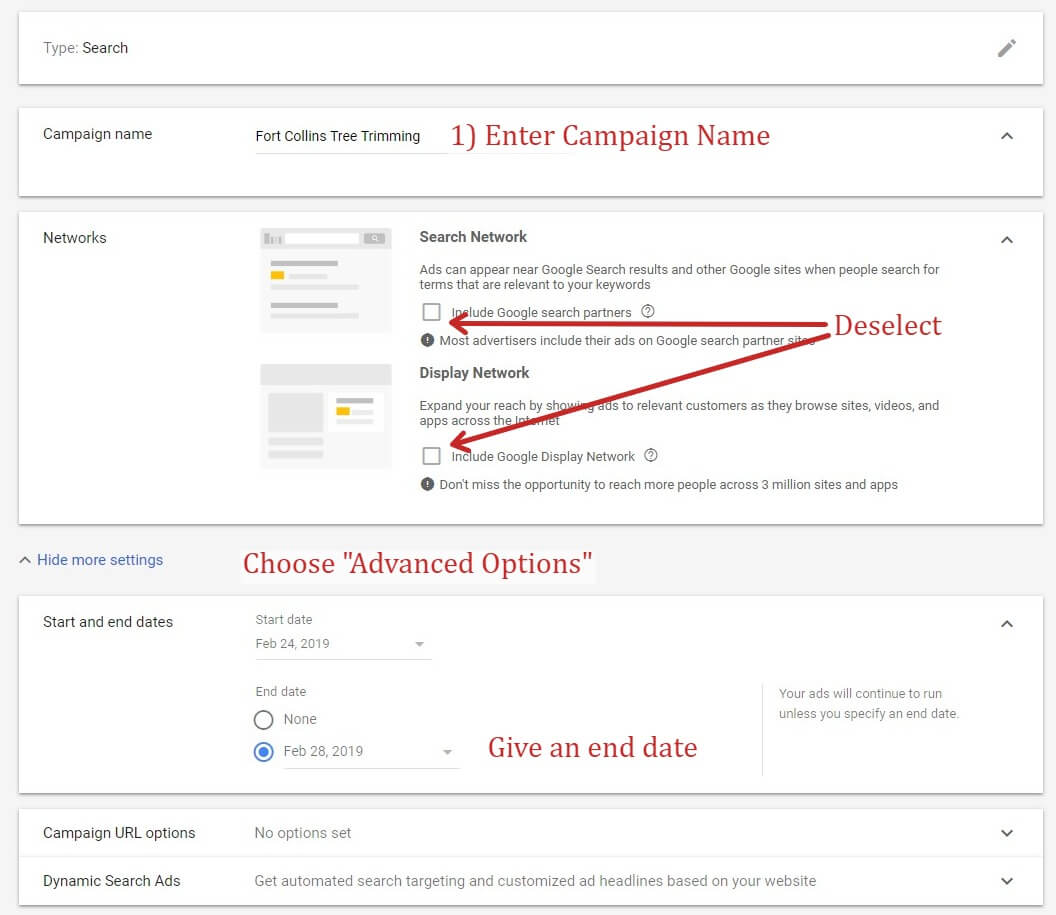 Setting Up A Google Ads Campaign - Options