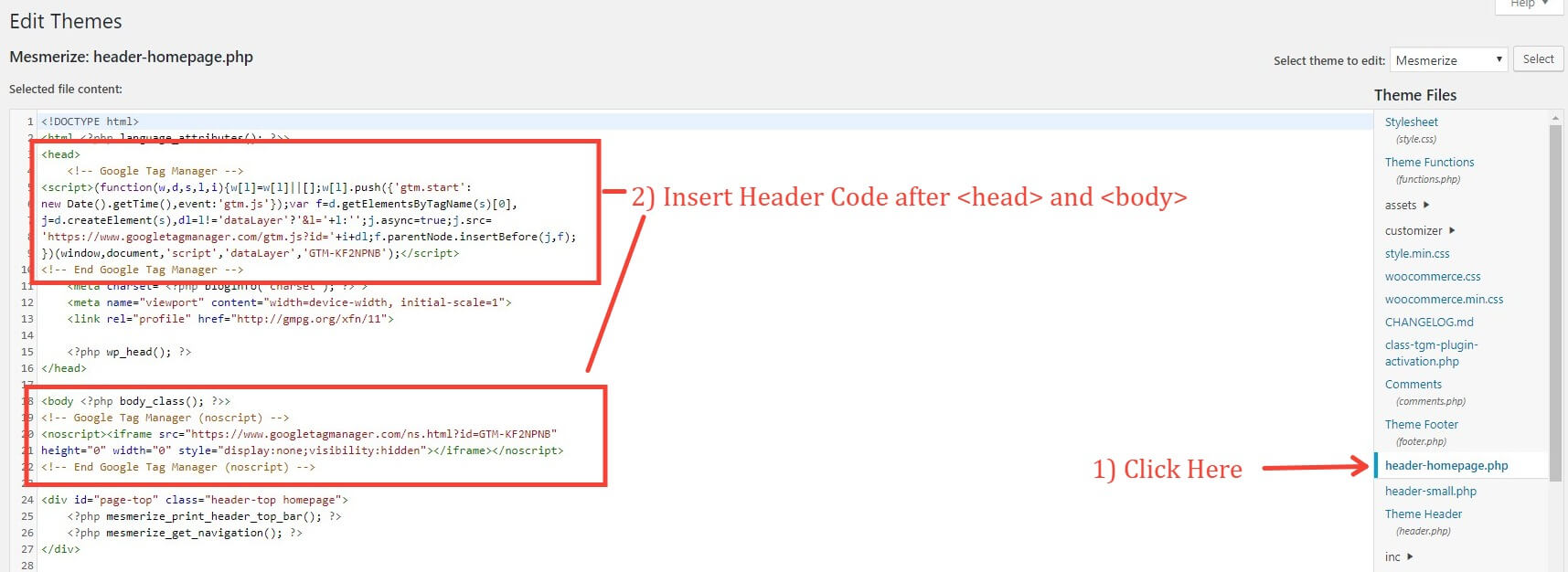 Inserting Google Tag Manager Code Into The WordPress Editor