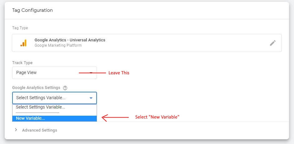 Selecting Tag Type In Google Tag Manager
