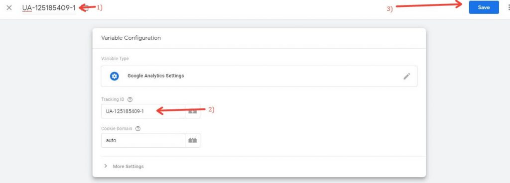 Selecting The UA code in Google Tag Manager