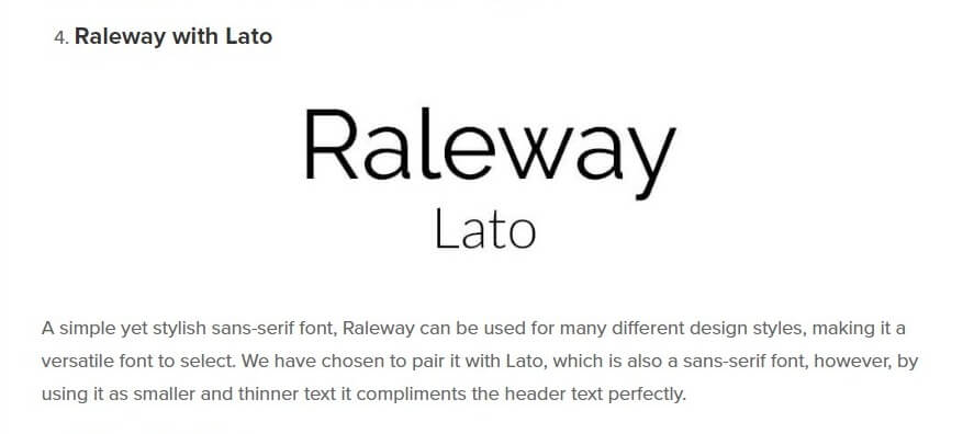 Best font combinations Raleway and Lato