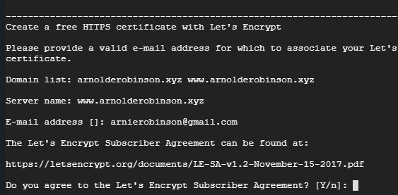 Agreeing To The Lets Encryt Terms