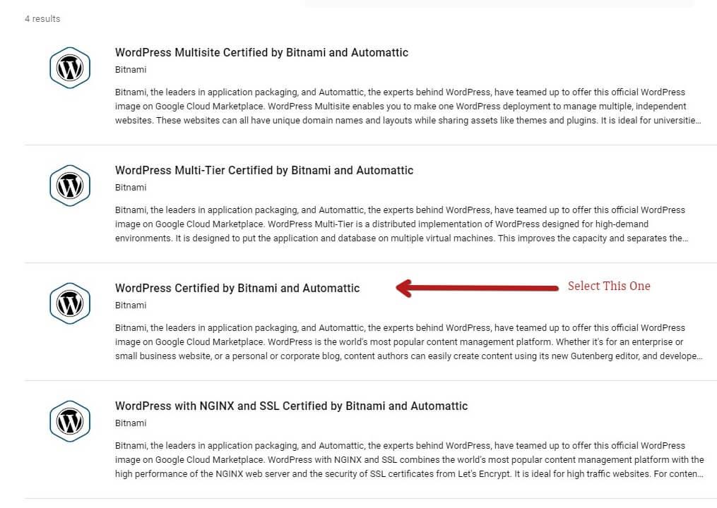 Select The Correct Bitnami WordPress Option